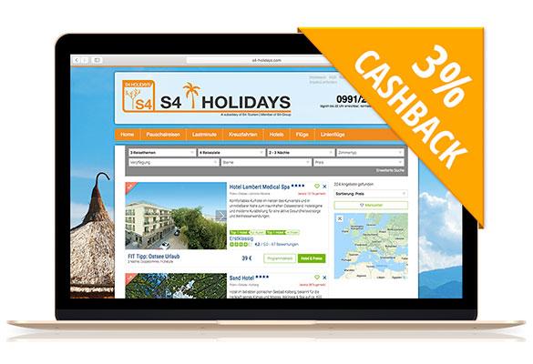 S4-Holidays | Mit Cashback auf Gesundheits-und Wellnessreisen!