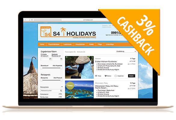 S4-Holidays | Mit Cashback anders und individuell Reisen!