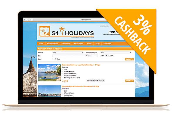 S4-Holidays | Mit Cashback und dem Rad aktiv Reisen!