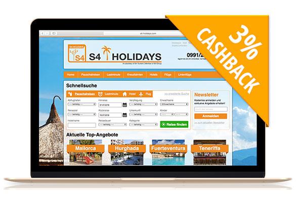 S4-Holidays | Mit Cashback auf Reisen gehen!